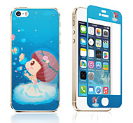 """2 In 1 Night Luminous Tempered Glass Lovely Cartoon Design Evening Light Protective Film For iPhone5G&5S 4"""""""