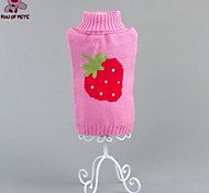 Cat / Dog Coat / Sweater Pink Dog Clothes Winter Fruit Wedding / Cosplay / Holiday / New Year's / Christmas