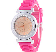 Women's Fashion Men's Silver Shell Diamond Circular Silicon Tape Chinese Watch Movement(Assorted Colors)