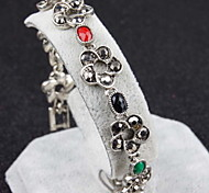 Ancient Silver Inlaid Diamond Resin Retro Flower Bracelets