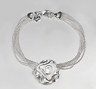 "Fashion  Luxury ""Roses"" 925 Silver Chain & Link Bracelets For Woman&Lady"
