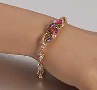 European  fashion multicolored diamond  gold-plated bracelet Tennis Bracelets Wedding / Party / Daily / Casual 1pc