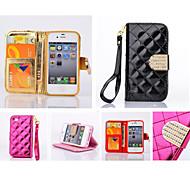 diamant cuir design cadre photo bascule tenir portefeuille dragonne cas de couverture de la corde pour iPhone 5 / 5s (de couleurs