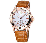 SINOBI® Women's Hollow Hnads Quartz Coffee & Black Leather Strap Watches