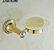 "Soap Dish Ti-PVD Wall Mounted 150 x 125 x 50mm (5.9 x 4.92 x 1.97"") Brass / Crystal Contemporary"