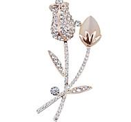 coreano moda diamante feito à mão broche de opala folhas e galhos