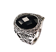 New Vintage Jewelry Women's Round-shaped Black Gem Statement Ring