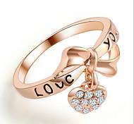 Lureme®Sweet Love Heart Bow  Rhinestone Ring