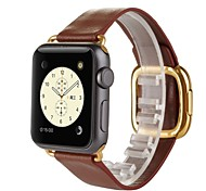 Golden Modern Buckle Genuine Leather Watch Band Strap for Apple Watch 38MM Women