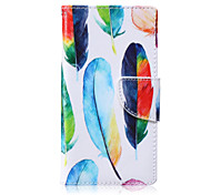 Colored Feathers Painted PU Phone Case for Huawei P8 Lite