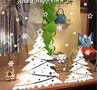Merry Christmas Show Window Decoration Tree Star PVC Glass Static Sticker