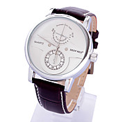 Men's Popular Personality Round Dail PU Band Quartz Analog Wrist Watch (Assorted Color)