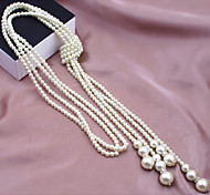 Necklace Strands Necklaces / Pearl Necklace Jewelry Wedding / Party / Daily / Casual Fashion Pearl / Alloy / Imitation Pearl Silver 1pc