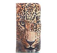 padrão de leopardo de couro pu caso de corpo inteiro com slot para cartão para o iphone 6 6s plus / iphone mais