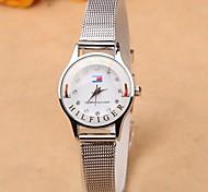 Feinsilber Gitterband Quarz-Uhren