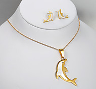 European and American fashion titanium steel golden dolphin earrings Necklace Set