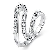 Silk Ribbon White Silver-Plated Statement Rings(White)(1Pcs)