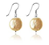 European Style Brief Flat Shell Pearl Silver Plating Earrings