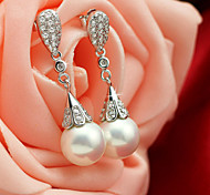 Fashion 925 Sterling Silver Pearl Wedding PrtayCubic Zirconia Earring Drop Earrings For Woman
