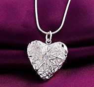 925 Silver Heart Photo frame Drop Pendant Necklaces Wedding/Party/Daily/Casual 1pc