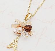 Women's Diamond Bow Rbbon Eiffel Tower Necklace