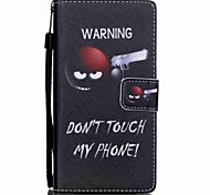 New  Do not Touch My Phone Lanyard PU Leather Material Flip Card Cell Phone Case for Huawei P8 Lite