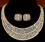 European Style Concise Fashion Hollow Metal Shiny Rhinestone Collar Necklace Earrings Set
