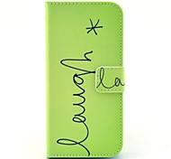 Green Letters Laugh Pattern PU Leather Stand Case Cover with Card Slot for iPhone 6/6S 4.7 Inch