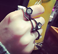 Black Queen Irregular Adjustable Ring Set Midi Rings(Set of 6)