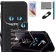 Coco fun® padrão azul olhos de gato estojo de couro pu com cabo usb v8, flim, caneta e stand para Samsung Galaxy S6