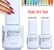 YeManNvYou®3pcs Metal Color UV Gel Polish No.1-12(5ml, 1PCS Nail Polish +1PCS Base Coat + 1PCS Top Coat)