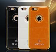 hzbyc® nuevas líneas de cuero de lujo de cuero genuino iphone TPU integrada del caso del capítulo 6 4,7 de metal para Apple iPhone 6 / 6s