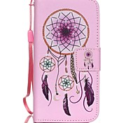 HZBYC®Pink Campanula Pattern PU Material Card Lanyard Case for iPhone 5C