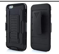 3 in 1 caso di impatto ibrido armatura nera con gancio girevole della cinghia stand per iPhone 6 / 6s