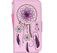 HZBYC®Pink Campanula Pattern PU Material Card Lanyard Case for iPhone 4/4S
