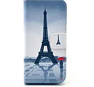 Eiffel Tower and Girl Pattern PU Leather Stand Case Cover with Card Slot for iPhone 5/5S