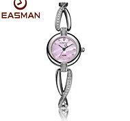 EASMAN Women Crystal Bracelet Mother of Pearl Dial Quartz Watch Sapphire Glass Female Water Resistant Wristwatch