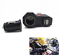 12v-24v Waterproof Motorcycle Car Dual USB Charger Cigerrete Lighter with Switch + Dual USB Socket