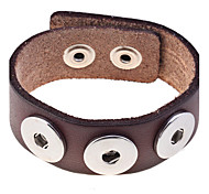 European Style  Diy Button Genuine Leather Bracelet