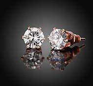 Boucles d'oreille goujon Zircon Cuivre Plaqué Or Rose Simple Style Or Rose Bijoux Quotidien Décontracté 1 paire