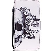 The New Skull Pattern PU Leather Material Flip Card Cell Phone Case for iPhone 6 /6S