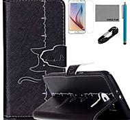 Coco fun® cabo padrão cardiograma padrão de couro pu caso v8 usb, flim, caneta e stand para Samsung Galaxy S6 borda