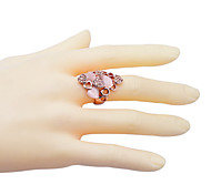 Fashion Drill Peach Hearth Hollow Out Statement Ring
