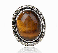 Vintage Look Antique Silver Plated Oval Amethyst Tiger Stone Adjustable Free Size Ring(1PC)