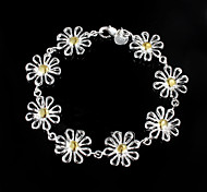 "Fashion 925 Silver Sterling ""Chrysanthemum"" Chain & Link Bracelets For Woman&Lady"