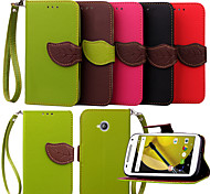KARZEA™ Leaf Snap PU Full Body Case with TPU Back Cover Stand for MOTO E2   (Assorted Colors)