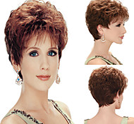 Women's Fashionable Short Brown Blonde Mixed color Wigs with Side Bang