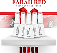 Azure Beauty 5Pcs Nail Gel Polish Shining Colorful Farah Red Series Long Lasting Soak Off Varnish Manicure