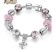 The new glass bead pink natural series of DIY bracelet