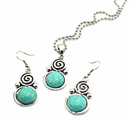 Vintage Look Antique Silver Round Turquoise Stone Small Necklace Earring Jewelry Set(1Set)